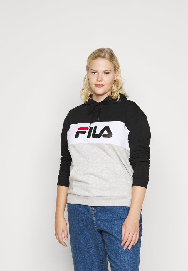 LORI HOODY - Felpa con cappuccio - black/light grey melange/bright white