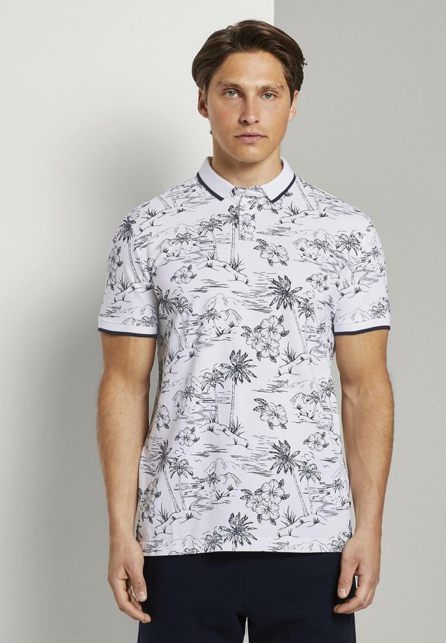 Polo - white navy hawaiian print