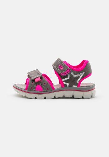 Walking sandals - grigio/fuxia