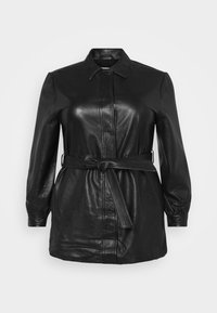 Selected Femme Curve - SLFLEA LONG JACKET - Faux leather jacket - black - 4