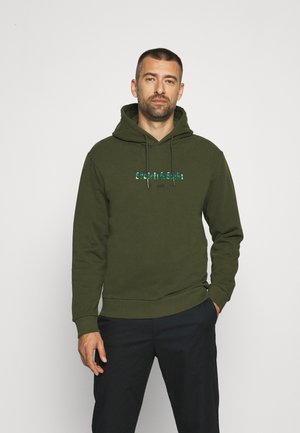 HOODED WITH CHEST ARTWORK - Sweatshirt - military green