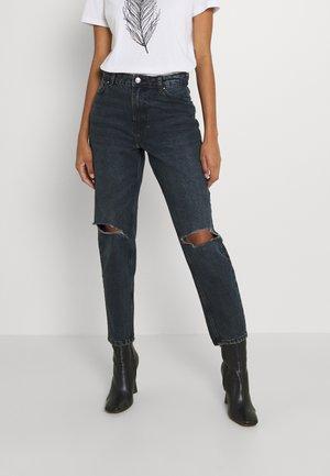 ONLJAGGER LUX LIFE MOM - Straight leg jeans - blue black denim