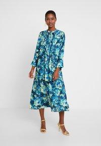 Rich & Royal - DRESS WITH PIN TUCKS - Day dress - multi-coloured/dark blue/neon green - 0