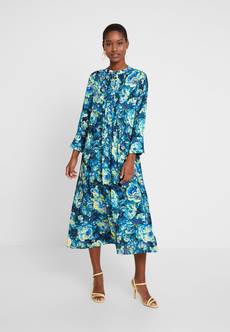 Rich & Royal - DRESS WITH PIN TUCKS - Day dress - multi-coloured/dark blue/neon green