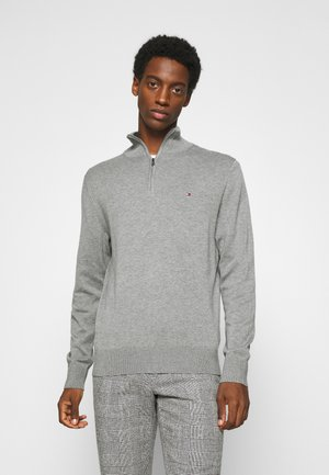 BLEND ZIP MOCK - Stickad tröja - grey