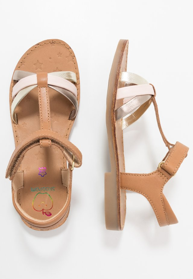 HAPPY SALOME - Sandaalit nilkkaremmillä - camel/platine/pink