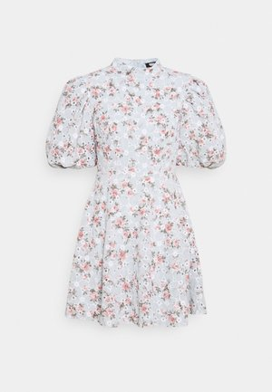 FLORAL PUFF SLEEVE SKATER DRESS - Kjole - baby blue
