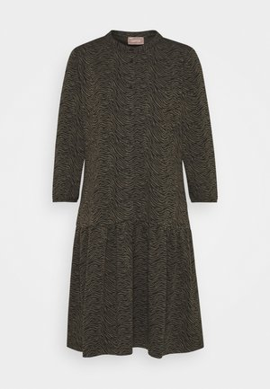 Jersey dress - khaki/black