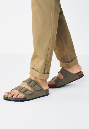 BROWN TWO BUCKLE SANDAL - Slippers - taupe