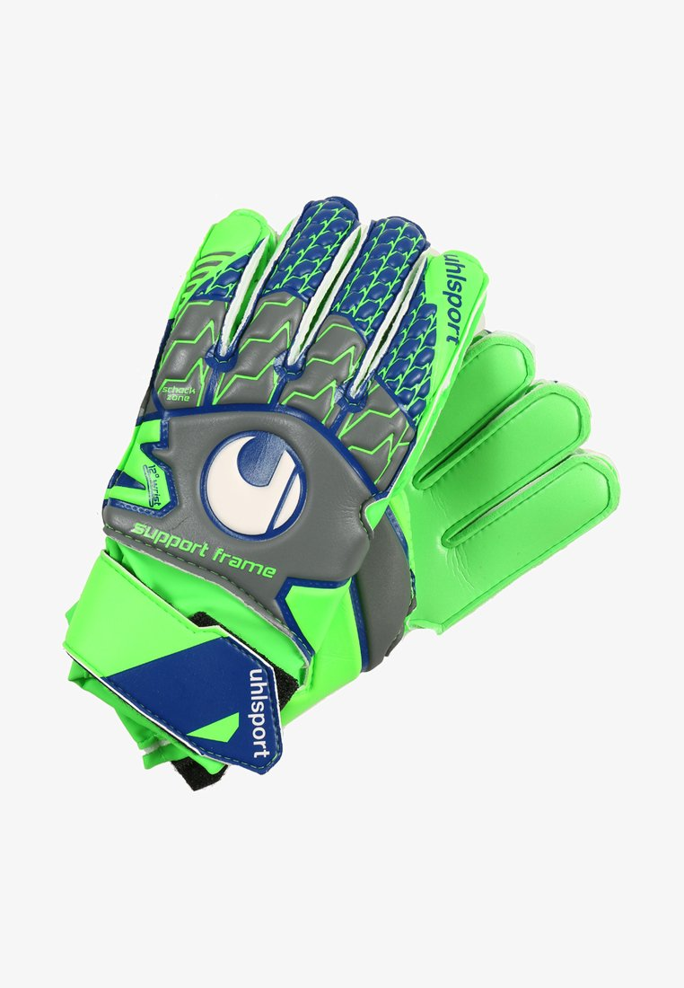 Uhlsport - TENSION SOFT JUNIOR - Goalkeeping gloves - dark grey/fluo green/navy
