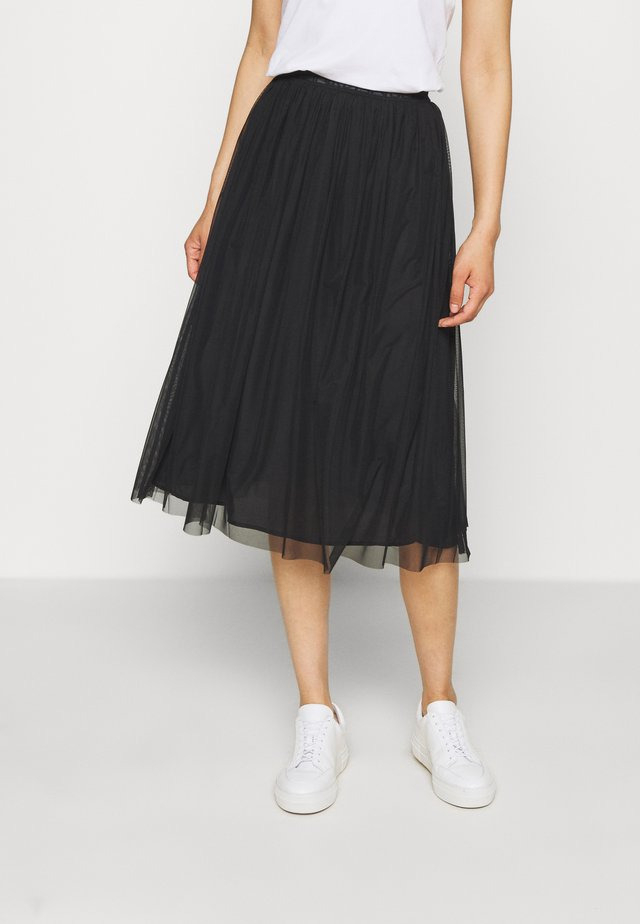 DOUBLE LAYER SKIRT - Spódnica trapezowa - black
