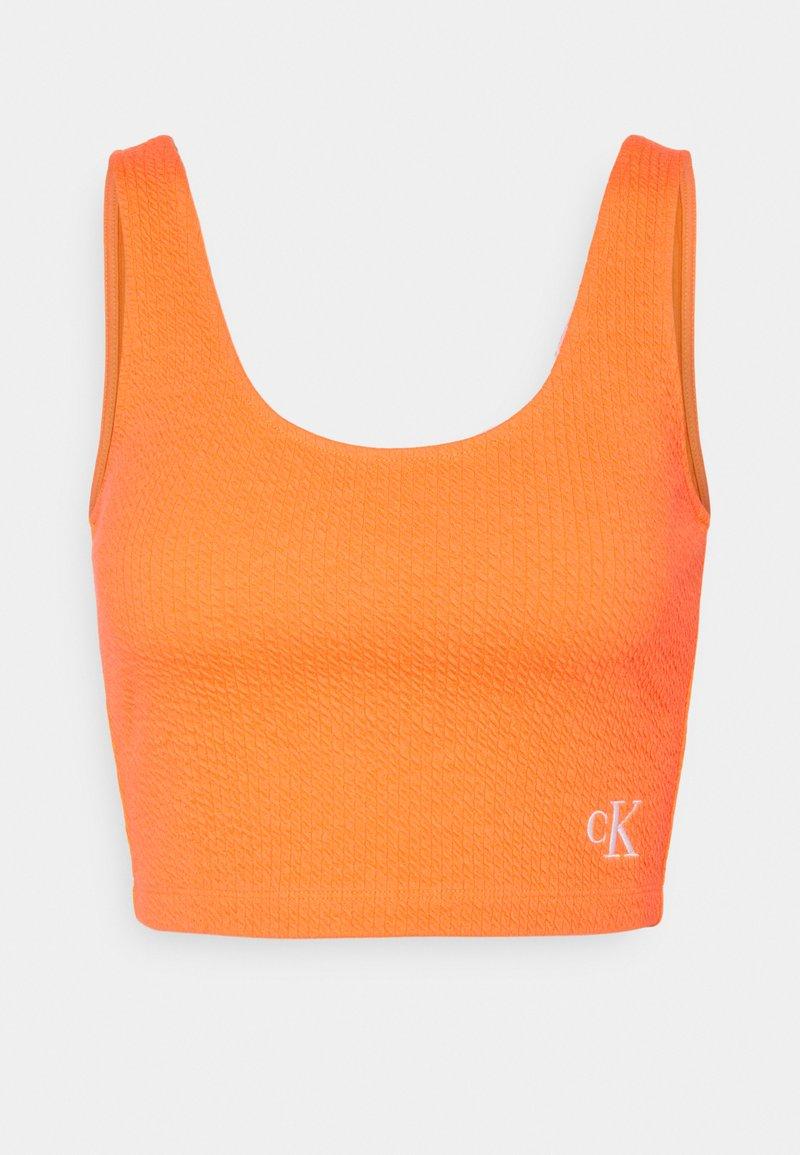 Calvin Klein Jeans - SLUB CROPPED STRAPPY - Top - shocking orange