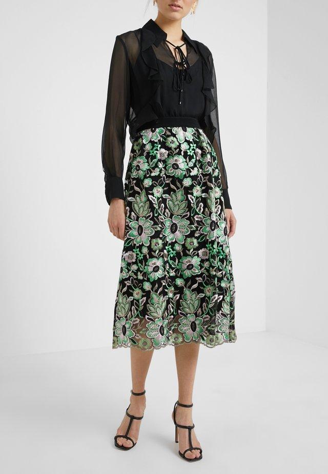 TULLAH PALMA SKIRT - Spódnica trapezowa - black/green