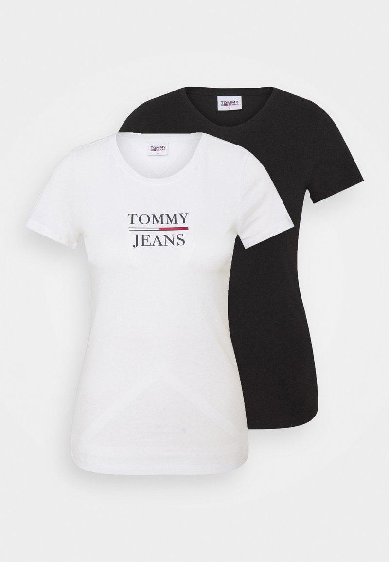 Tommy Jeans - SKINNY 2 PACK  - Print T-shirt - black/white
