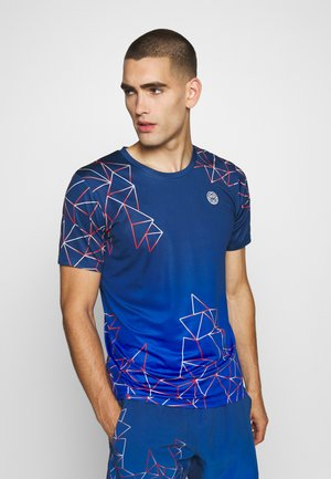 JAROL TECH TEE - Print T-shirt - dark blue/blue