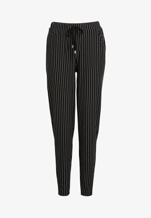 MONO STRIPE JERSEY JOGGERS - Teplákové kalhoty - black