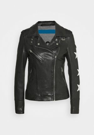 JUST - Kožená bunda - black