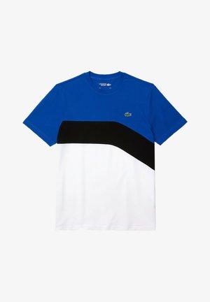 T-shirt print - bleu  noir  blanc