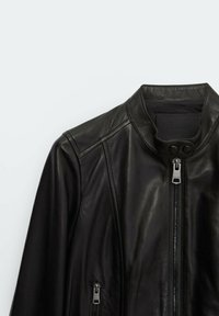 Massimo Dutti - MIT RIPPENMUSTER  - Leather jacket - black - 2