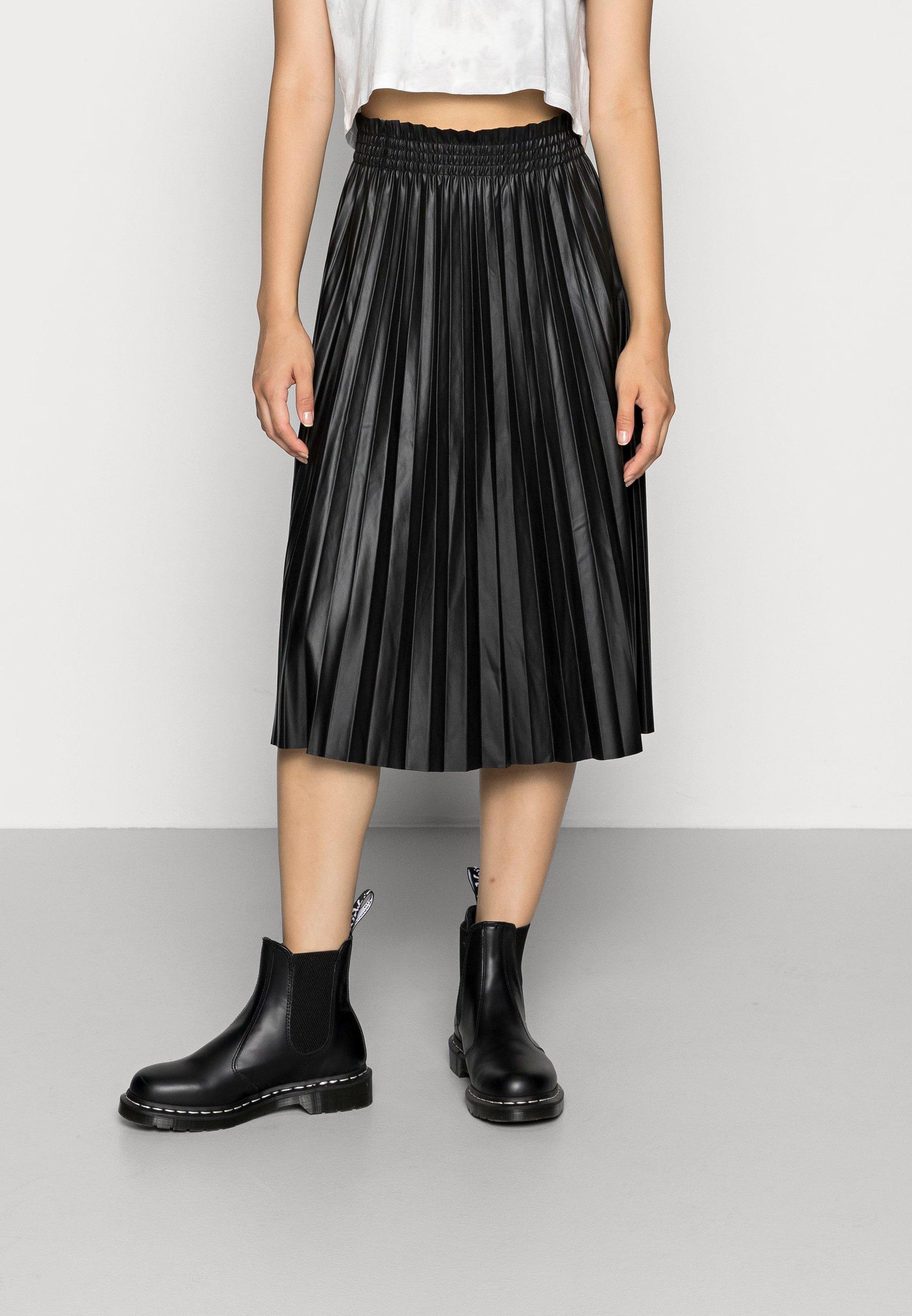 Femme VMNELLIE COATED CALF SKIRT - Jupe plissée