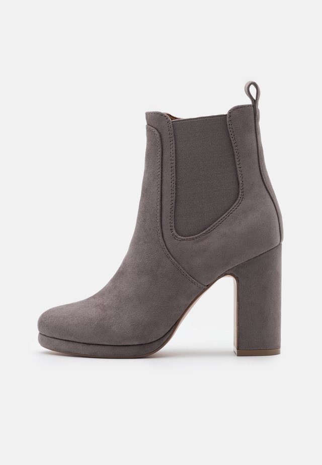 High heeled ankle boots - light grey