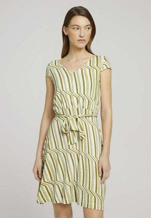Korte jurk - green watercolor stripe