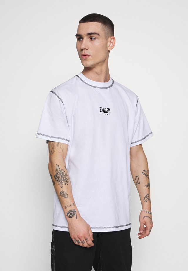 RAGGED TEE WITH STITCHING - T-shirt imprimé - white