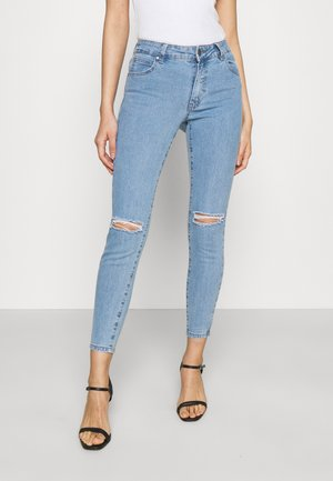 MID RISE CROPPED - Jeansy Skinny Fit - flynn blue rip