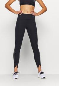 Nike Performance - SPEED 7/8 MATTE - Leggings - black/gunsmoke - 0