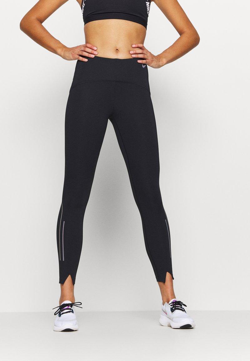 Nike Performance - SPEED 7/8 MATTE - Leggings - black/gunsmoke
