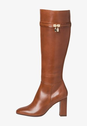 High heeled boots - brandy