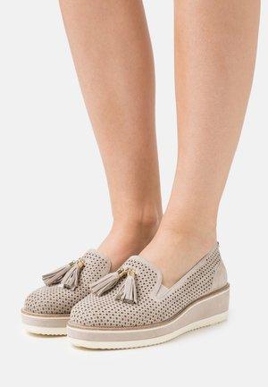 SLIP ON - Platform heels - stone
