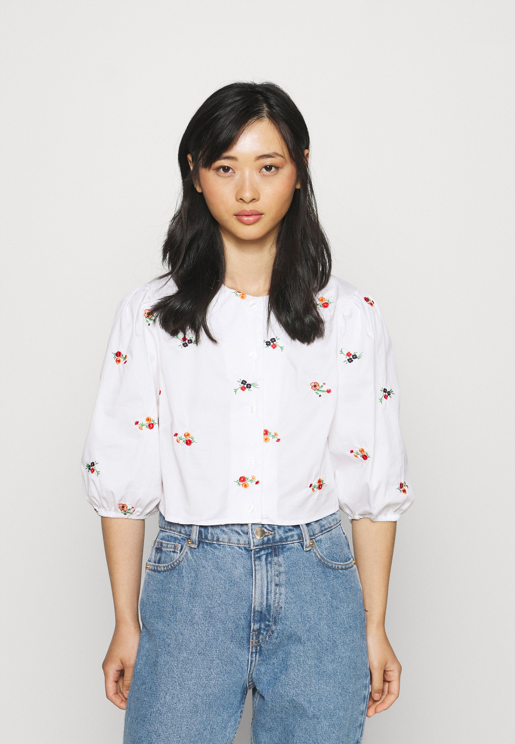 Women BALLOON SLEEVE EMBROIDERED LOOSE FIT SHIRT - Blouse