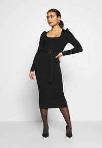 Missguided Petite - MILKMAID BELTED MIDI DRESS - Jumper dress - black - 0