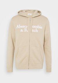 Abercrombie & Fitch - TONAL TECH LOGO - Zip-up hoodie - tan - 4