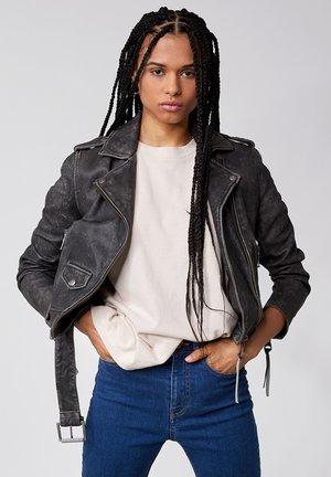 Leather jacket - black stone wash