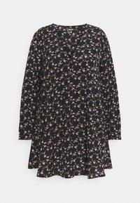 Missguided Plus - BUTTON THRU SMOCK DRESS FLORAL - Robe d'été - black - 0