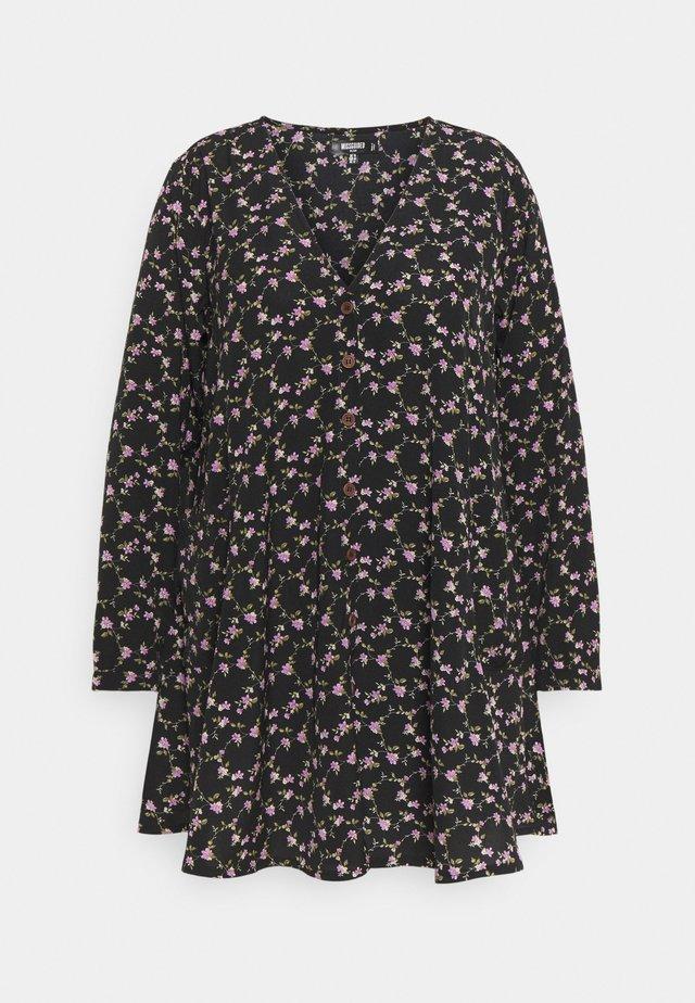 BUTTON THRU SMOCK DRESS FLORAL - Robe d'été - black