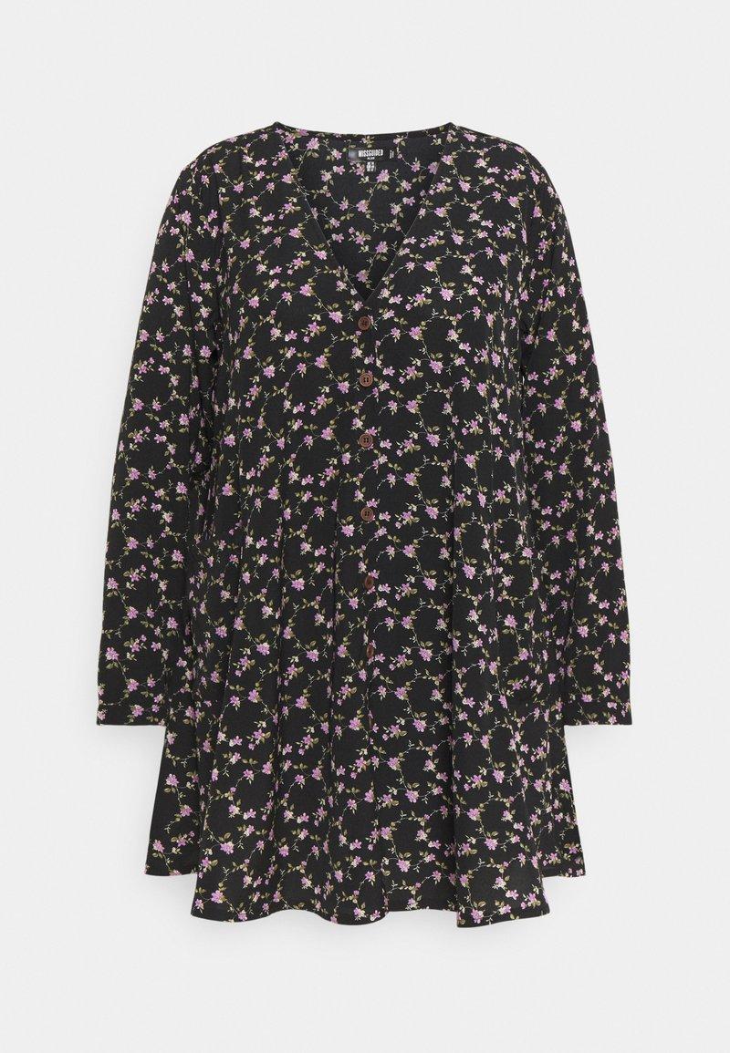 Missguided Plus - BUTTON THRU SMOCK DRESS FLORAL - Robe d'été - black