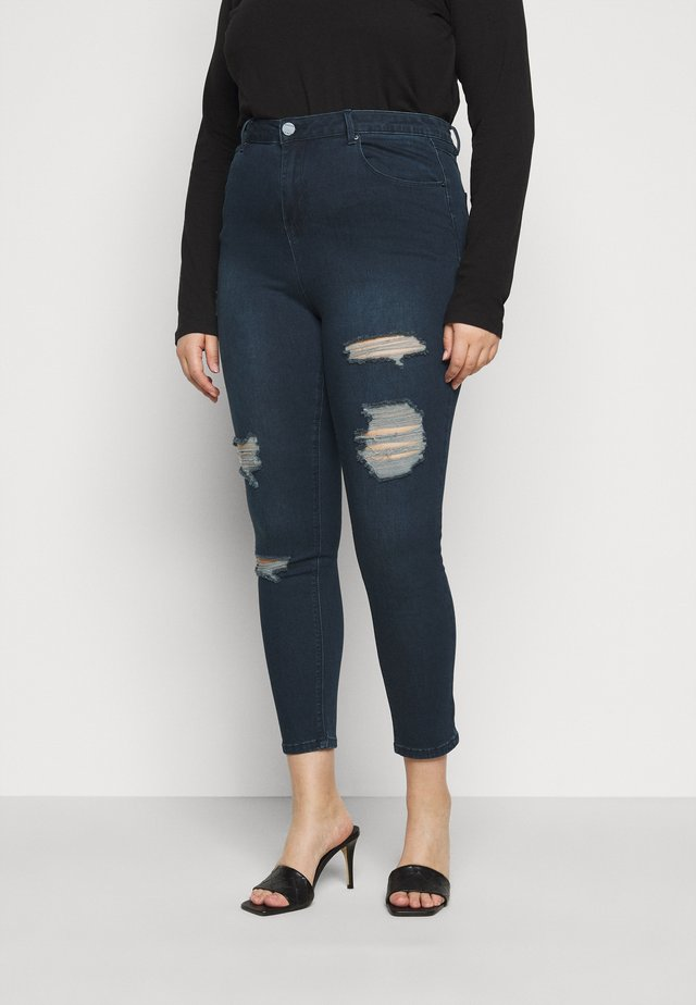 HIGH WAIST RIPPED  - Jeans Skinny Fit - indigo