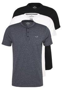 Hollister Co. - HENLEY 3 PACK - T-shirt basic - white/navy/black - 5