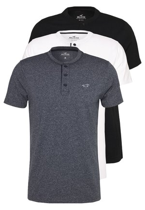 HENLEY 3 PACK - T-shirt - bas - white/navy/black