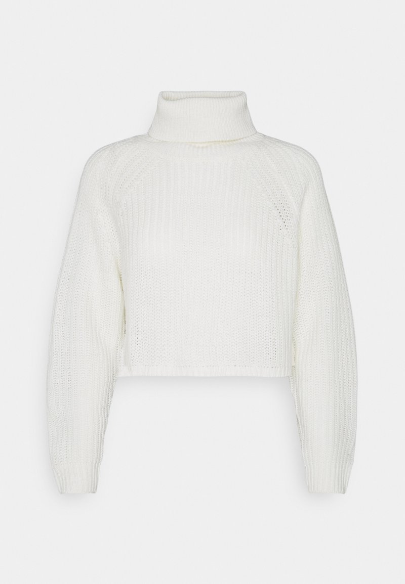 Missguided Petite - ROLL NECK BATWING CROP JUMPER - Jumper - off white