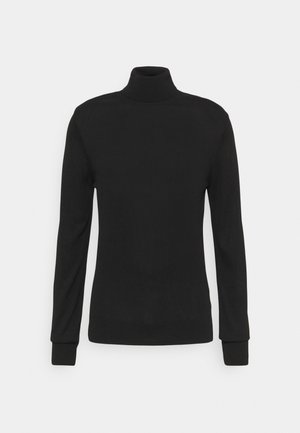 SLIM FIT TURTLE NECK  - Stickad tröja - black