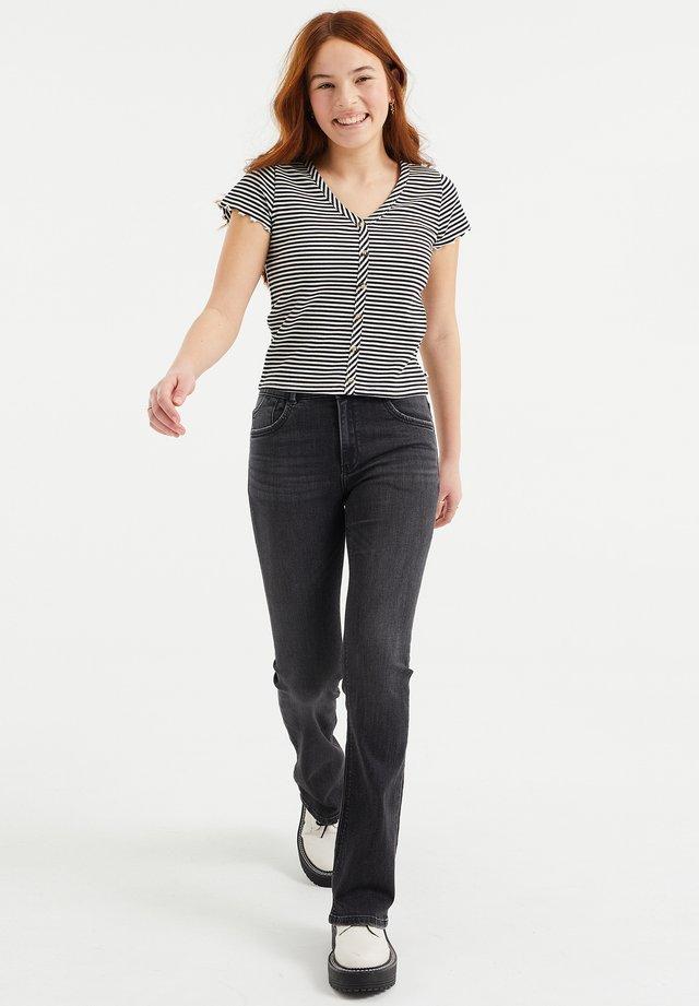 MET RIBSTRUCTUUR - T-shirt con stampa - black