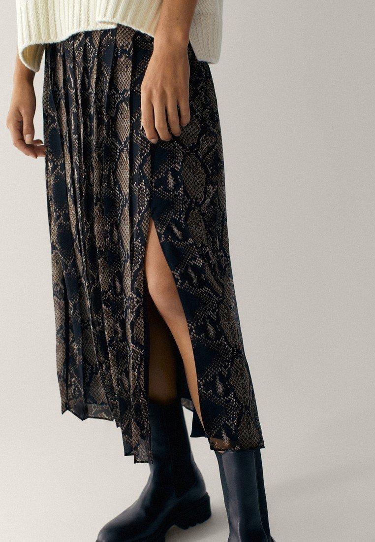 Massimo Dutti MIT SCHLANGENHAUTPRINT - A-line skirt - brown - Women's Clothing WC32W