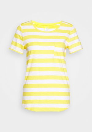 EASY SCOOP - Camiseta estampada - yellow/white