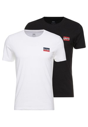 2PACK - T-shirt print - white/mineral black