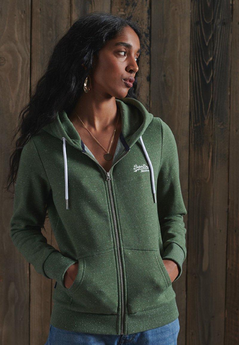 Superdry - ORANGE LABEL - Zip-up hoodie - washed khaki snowy
