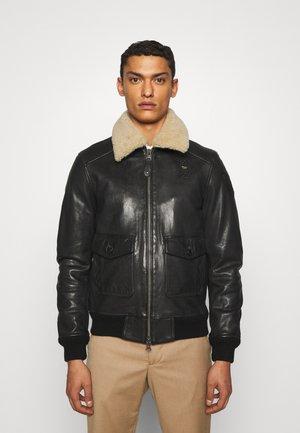 BIKER COLLAR - Leather jacket - black